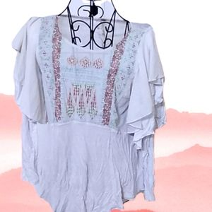 Free People embroidered prairie ruffle top